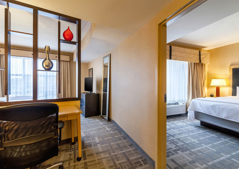 Bedroom King Tower Suite​ at Cambria Hotel Pittsburgh Downtown, Pennsylvania
